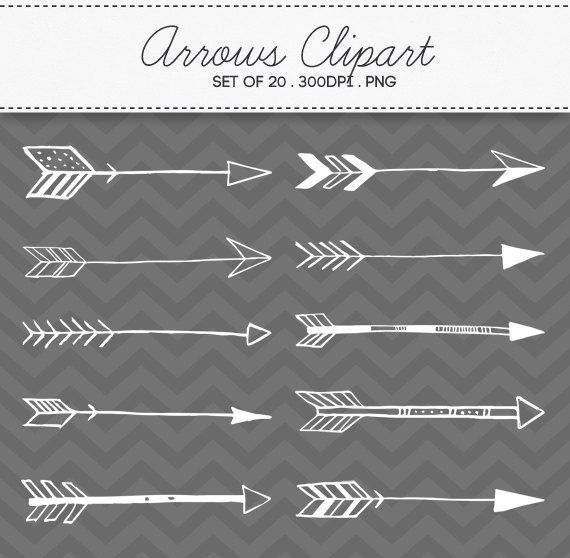 Doodle Tribal Aztec Arrow Clipart Instant Download Digital Arrows Set Of 20 160 On Etsy 4 87 Clip Art Diy Tattoo Arrow Clipart