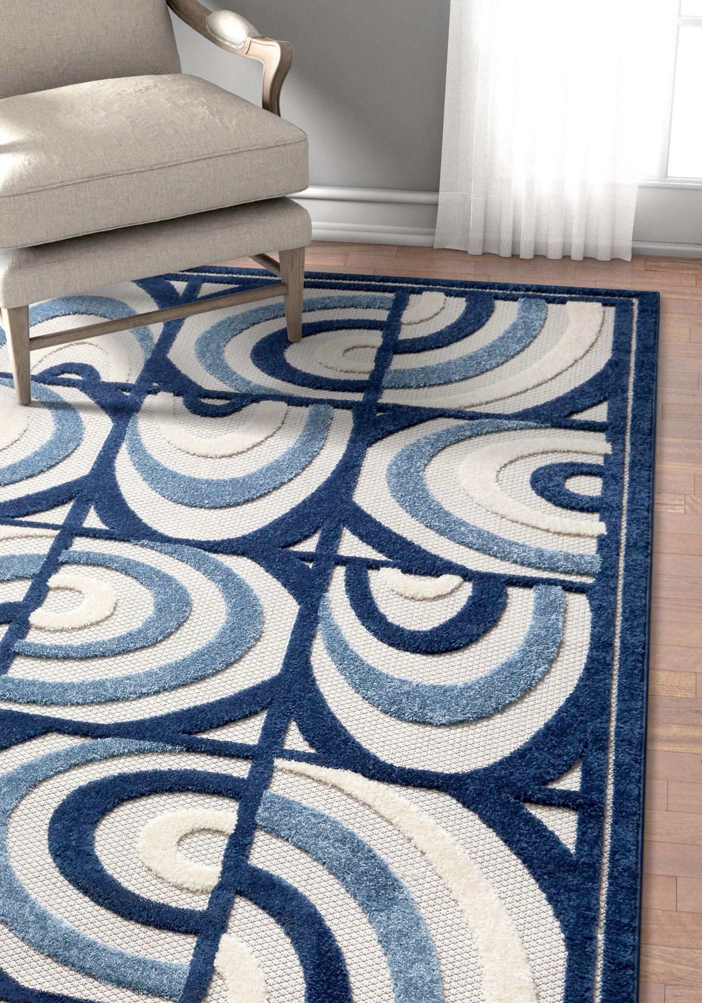 Lucente Blue Modern Indoor Outdoor Rug With Images Indoor