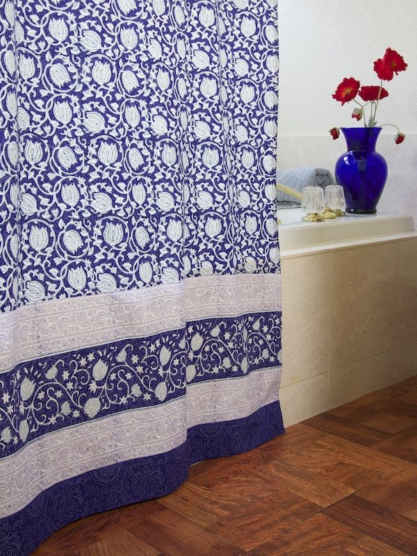 Asian design fabric shower curtain