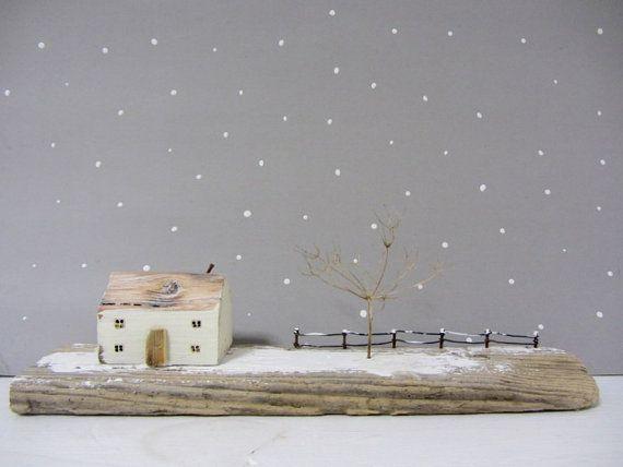 Winter driftwood cottage sculpture