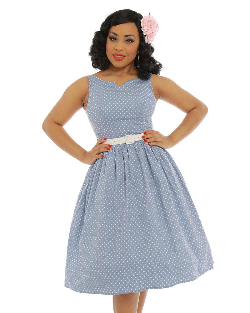 Deltau pale blue polka dot swing dress wishlist clothes