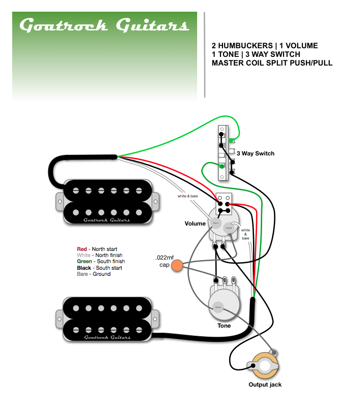 Goatrock Guitars Wiring Diagram 2 Humbucker 1 Volume 1 Tone 3 Way Blade Switch 1 Master Coil Split Humbucker W Guitar Pickups Guitar Guitar Building