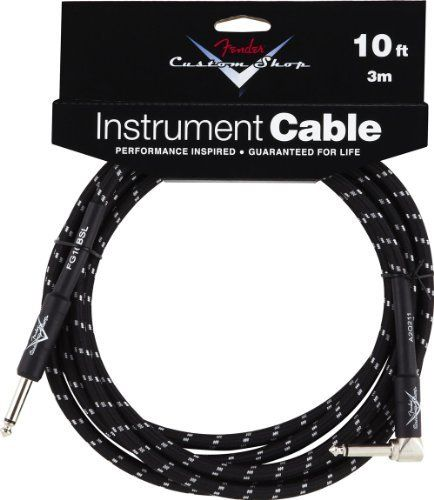 Fender Custom Shop 10 Angled Instrument Cable Black By Fender 29 99 Fender Cables Are Designed Specific Fender Custom Shop Black Tweed Guitar Accessories