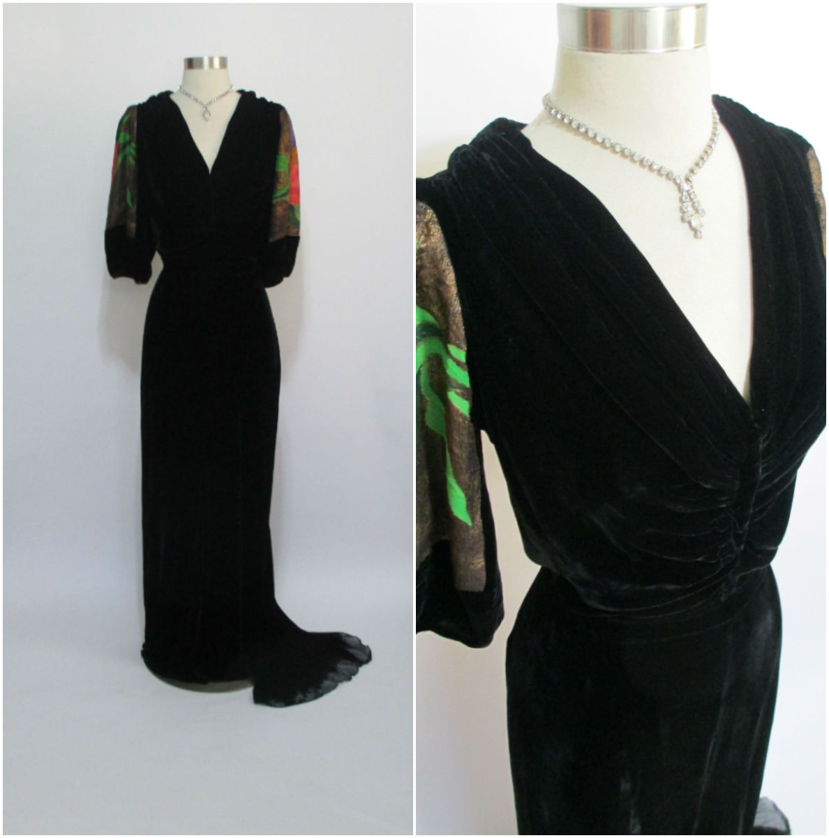 Vintage us black velvet evening gown with train and colorful