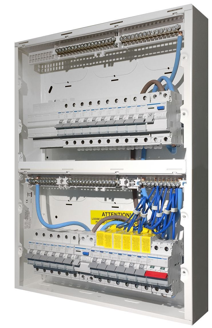 hager high integrity duplex consumer unit populated with a mains isolator  switch, 2 rcd's (residual current device), mcb's (miniature circuit  breaker)