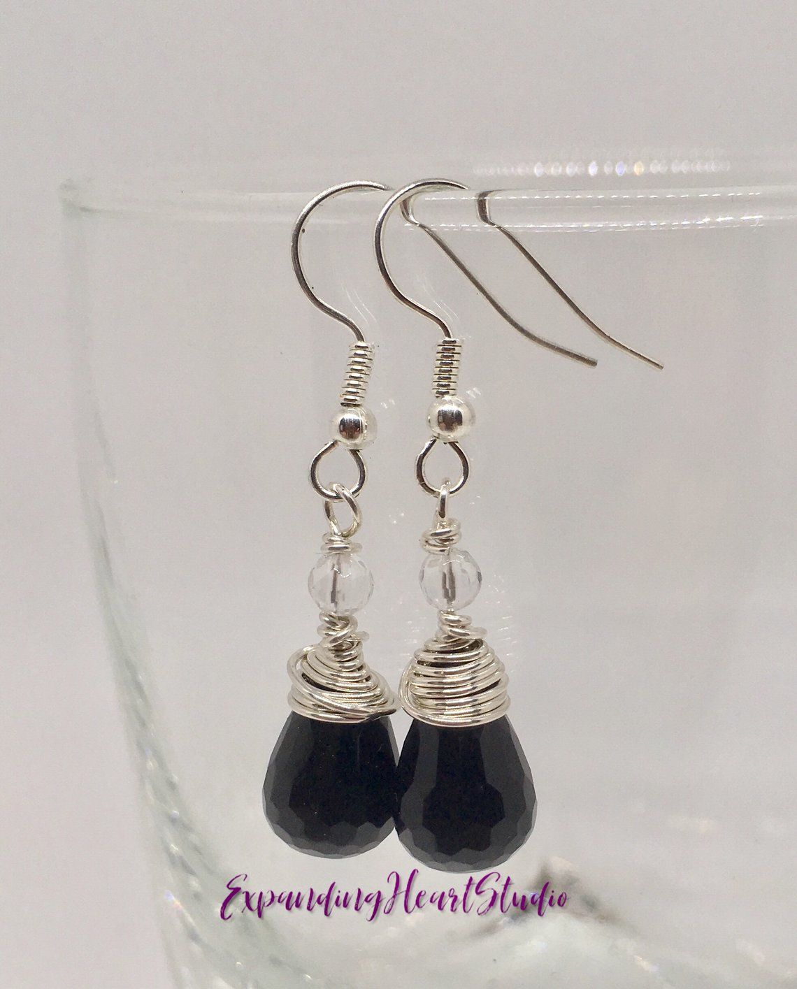 Iridized Textured Copper  /& Onyx Earrings with Sterling Accents
