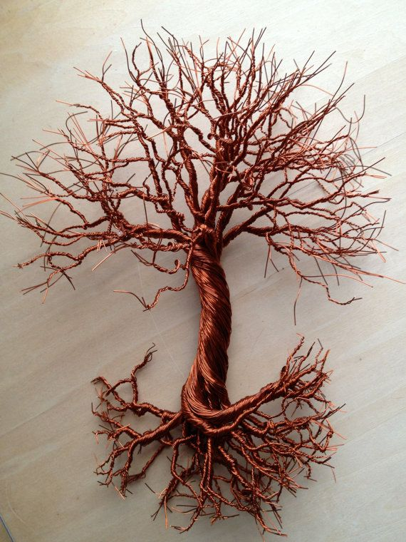 Small Oak Tree 8 X 9 Made From Copper Wire By Twistedforest 65 00 Wire Wall Art Copper Wire Art Tree Art