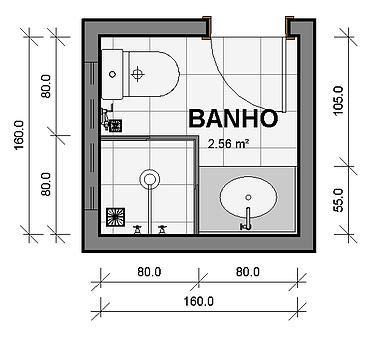 Planta banheiro quadrado