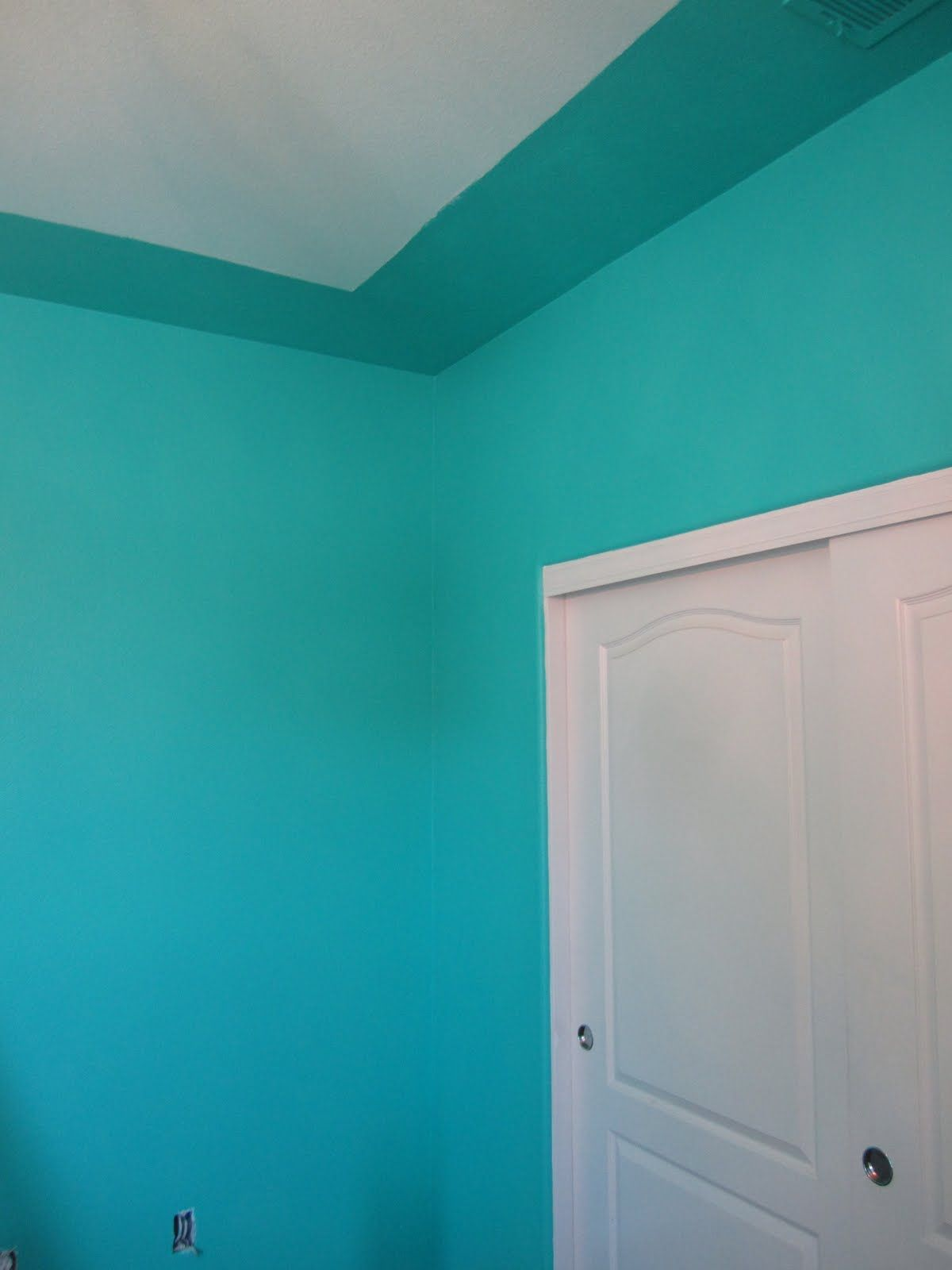 Benjamin Moore Poolside Blue for the walls this is the color of my ...