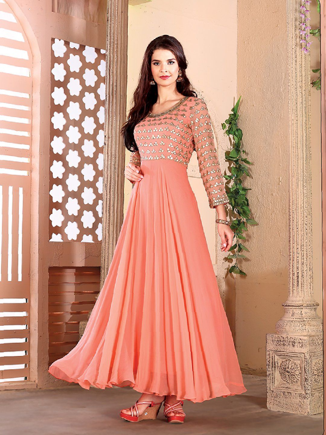 87c11eef3 Shop Georgette peach color anarkali suit online from G3fashion India. Brand  - G3, Product code - G3-WSS00352, Price - 10495, Color - Peach, ...