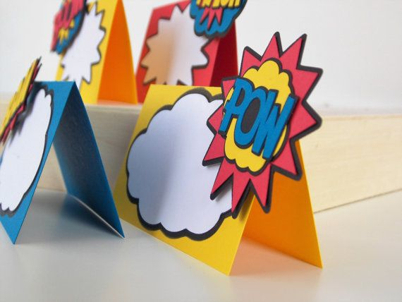 Superhero Food Labels Place Cards Birthday