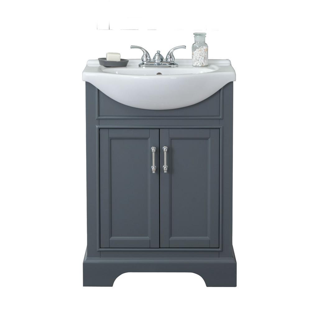 24 In W X 17 In D X 34 In H Bath Vanity In Gray With Ceramic Vanity Top In White With White Basin Wlf6046 The Home Depot Bathroom Vanity Bath Vanities Vanity [ 1000 x 1000 Pixel ]