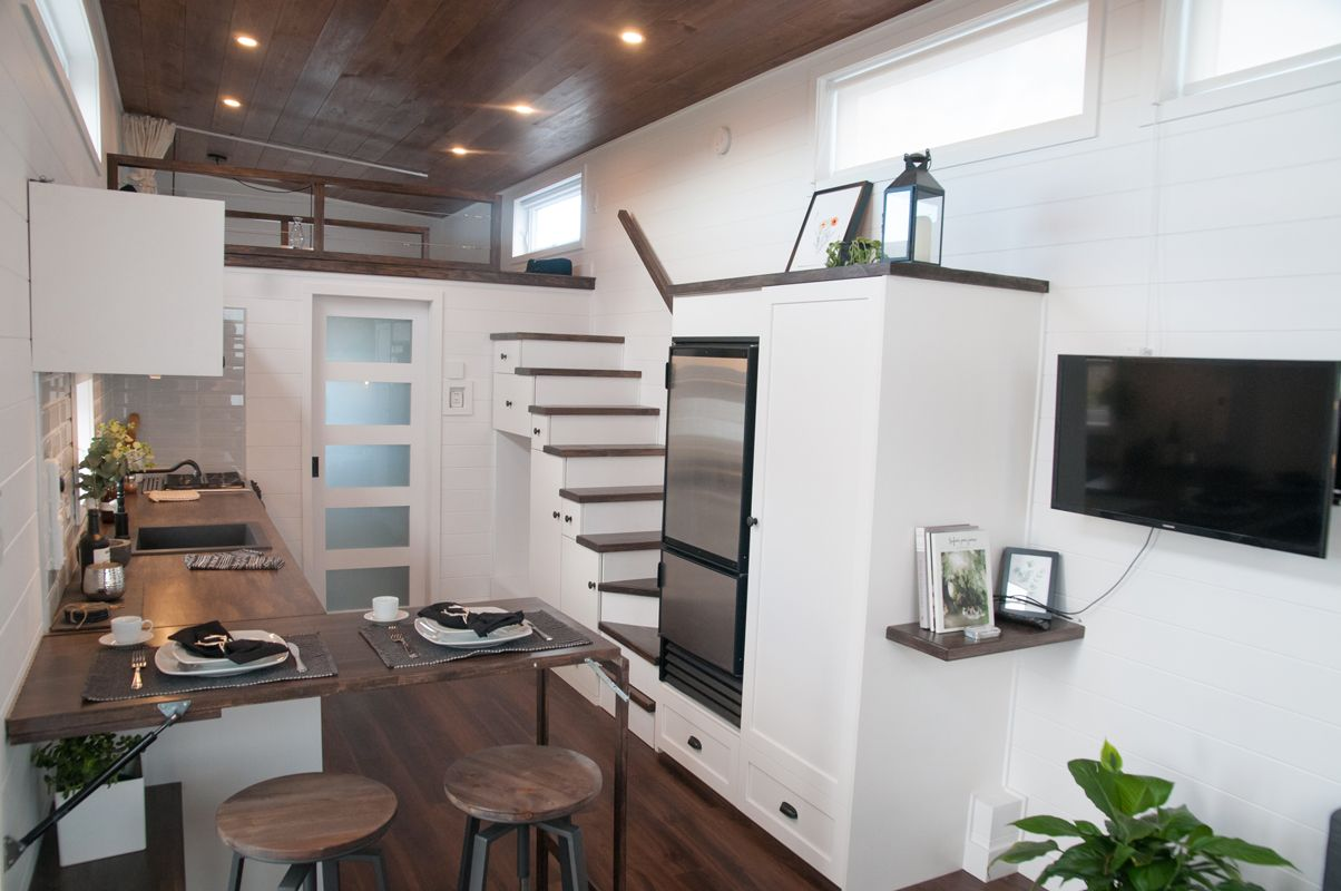 This Is The Laurier Tiny House On Wheels By Minimaliste It S A 365 Square Feet Tiny Home That S 10 Feet W Tiny House Design Tiny House Kitchen Best Tiny House