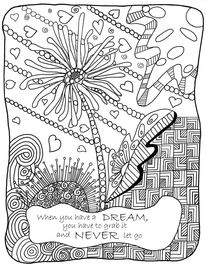 Coloring Pages Digital Download With Inspirational Quotes Etsy Quote Coloring Pages Inspirational Quotes Coloring Coloring Pages