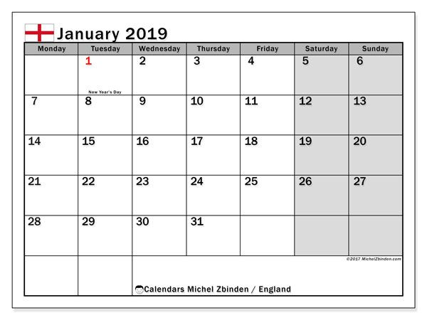 2019 January Holidays Calendar Uk Holiday Calendar Printable