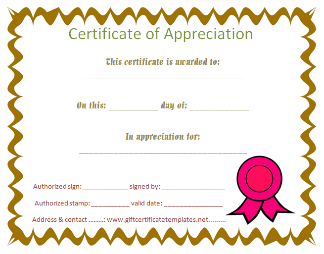 Student Certificate Of Appreciation   Free Certificate Templates  Free Appreciation Certificate Templates For Word