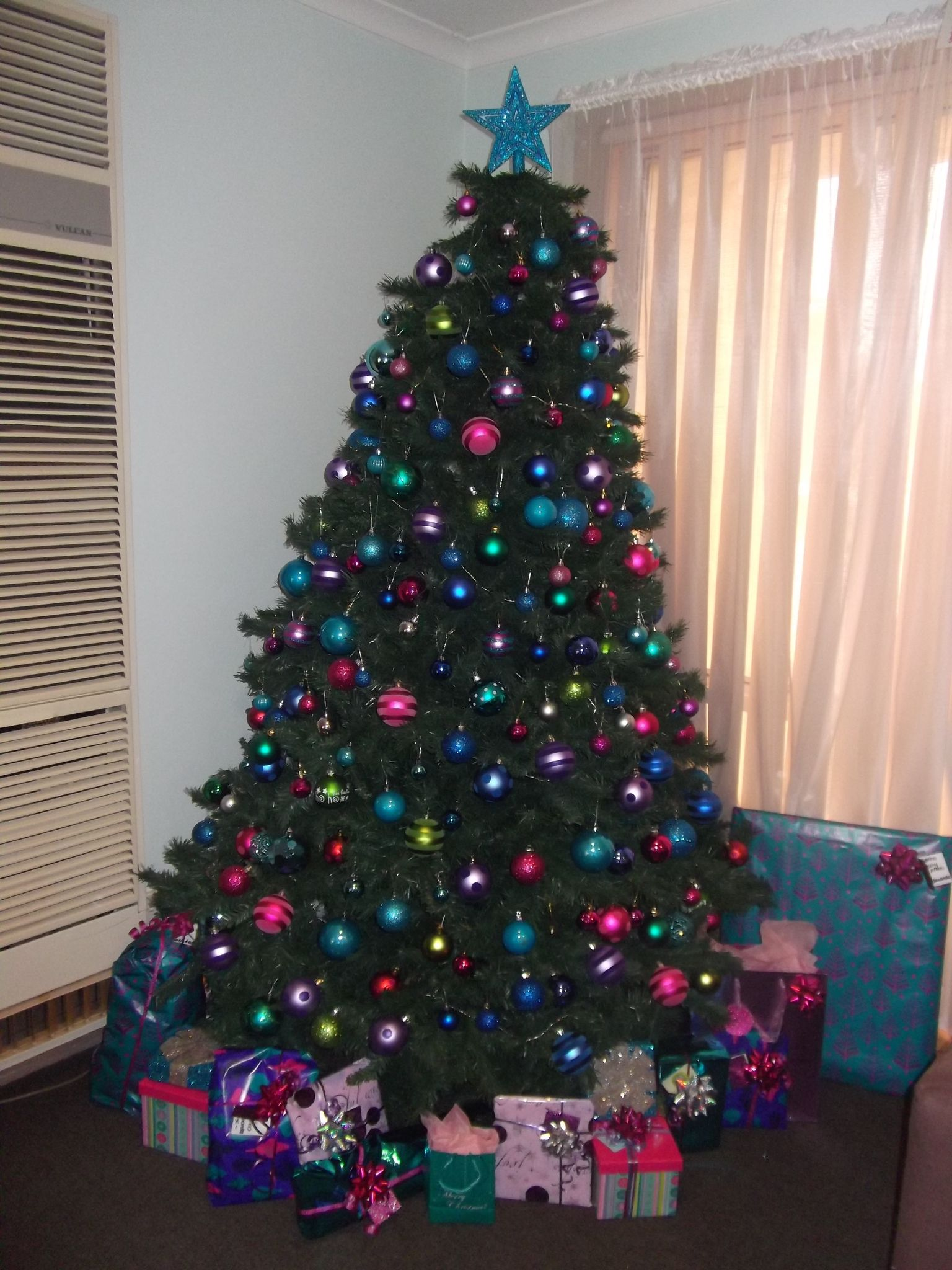 Christmas 2011 multi coloured theme pink blue purple green
