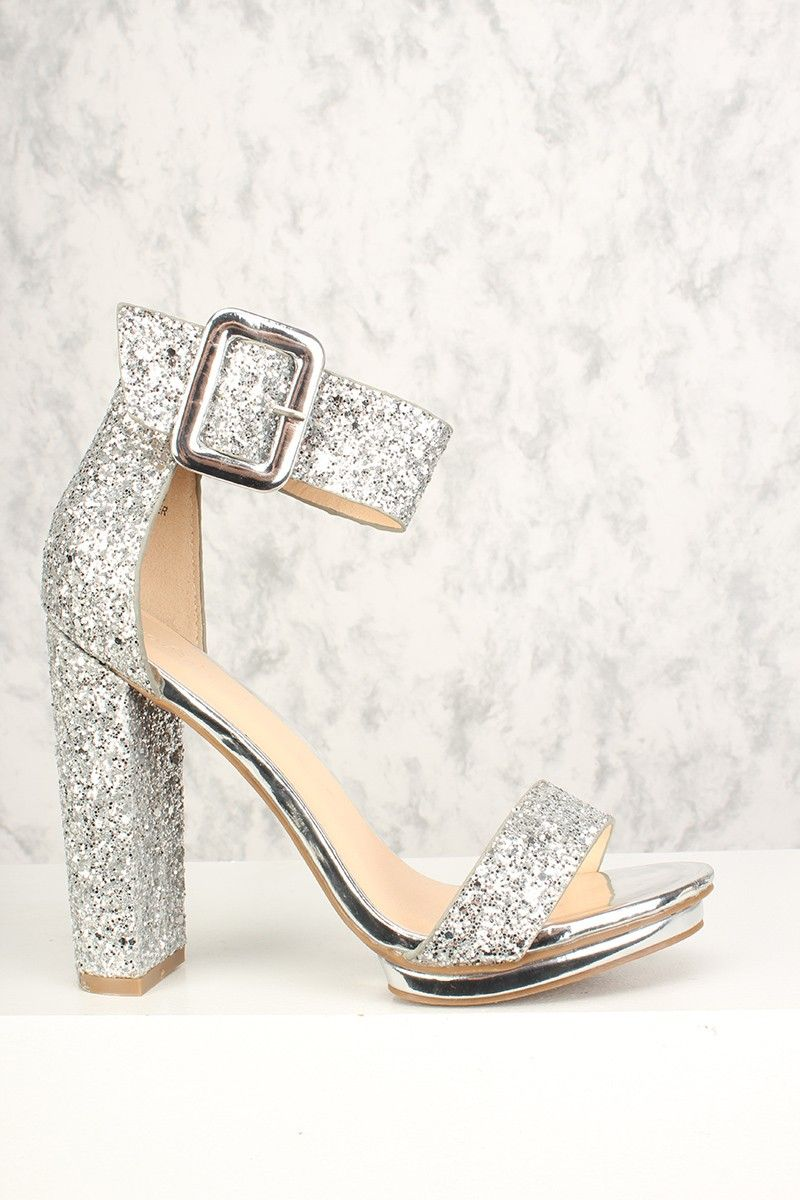 Silver Chunky Heel Shoes