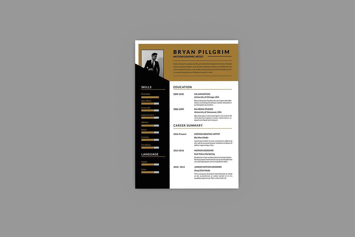 Motion graphic resume designer in 2020 graphic resume