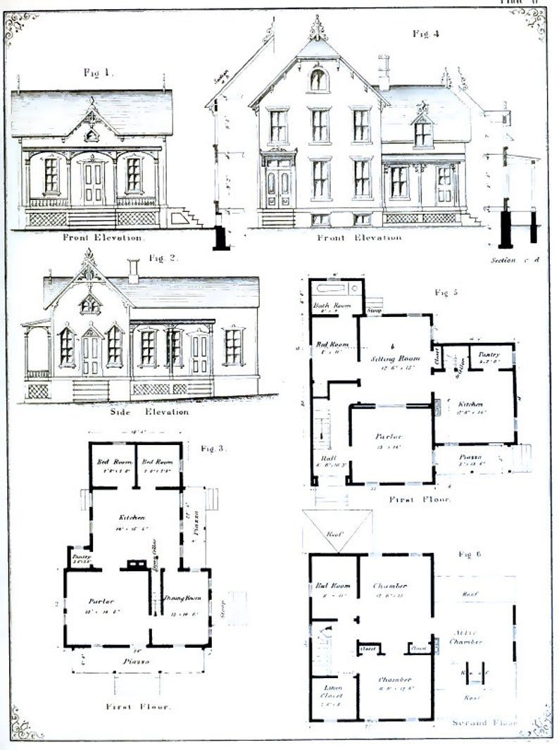 VICTORIAN ARCHITECTURAL PLANS 55 Elevations and Plans for | Etsy