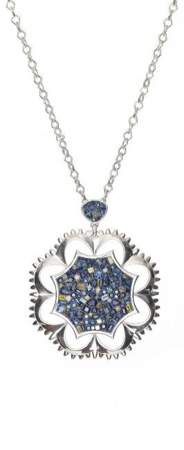 Plevé.  Deep Blue.  A mix of deep colored sapphires, yellow diamonds and white diamonds.