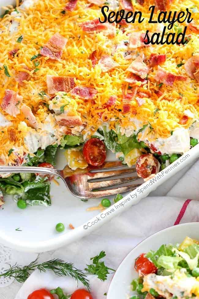 Ranch 7 Layer Salad Spend With Pennies Layered Salad Seven Layer Salad Layered Salad Recipes