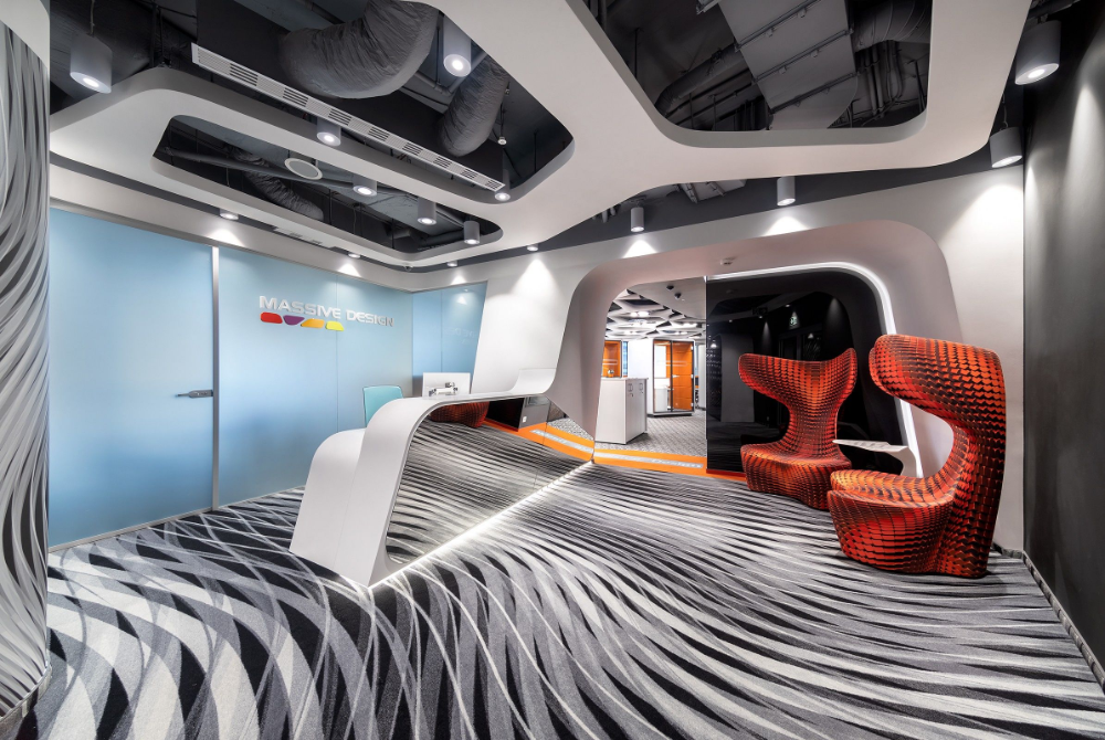 The Massive Design Team Led By Chief Architect And Designer Mac Stopa Recently Completely The Design Of Its New Office Located In Dow Office Ideas For Work Lobby Design Design