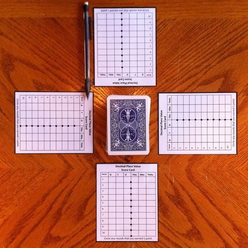 Decimal Place Value With Playing Cards  Decimal Places Scores