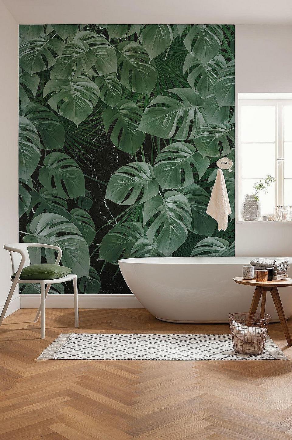Komar Vlies Fototapete Monstera On Marble Badezimmer Bad Einrichten Einrichtungsideen Tapeten Wandbilder Komar Tapeten Badezimmer Tapete