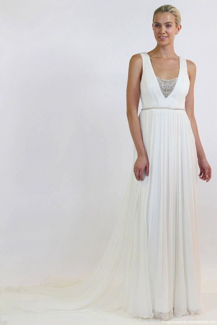 Nicole miller empire waist chiffon gown with v neck wedding and nicole miller spring 2015 empire waist grecian chiffon wedding dress with v neckline ombrellifo Gallery