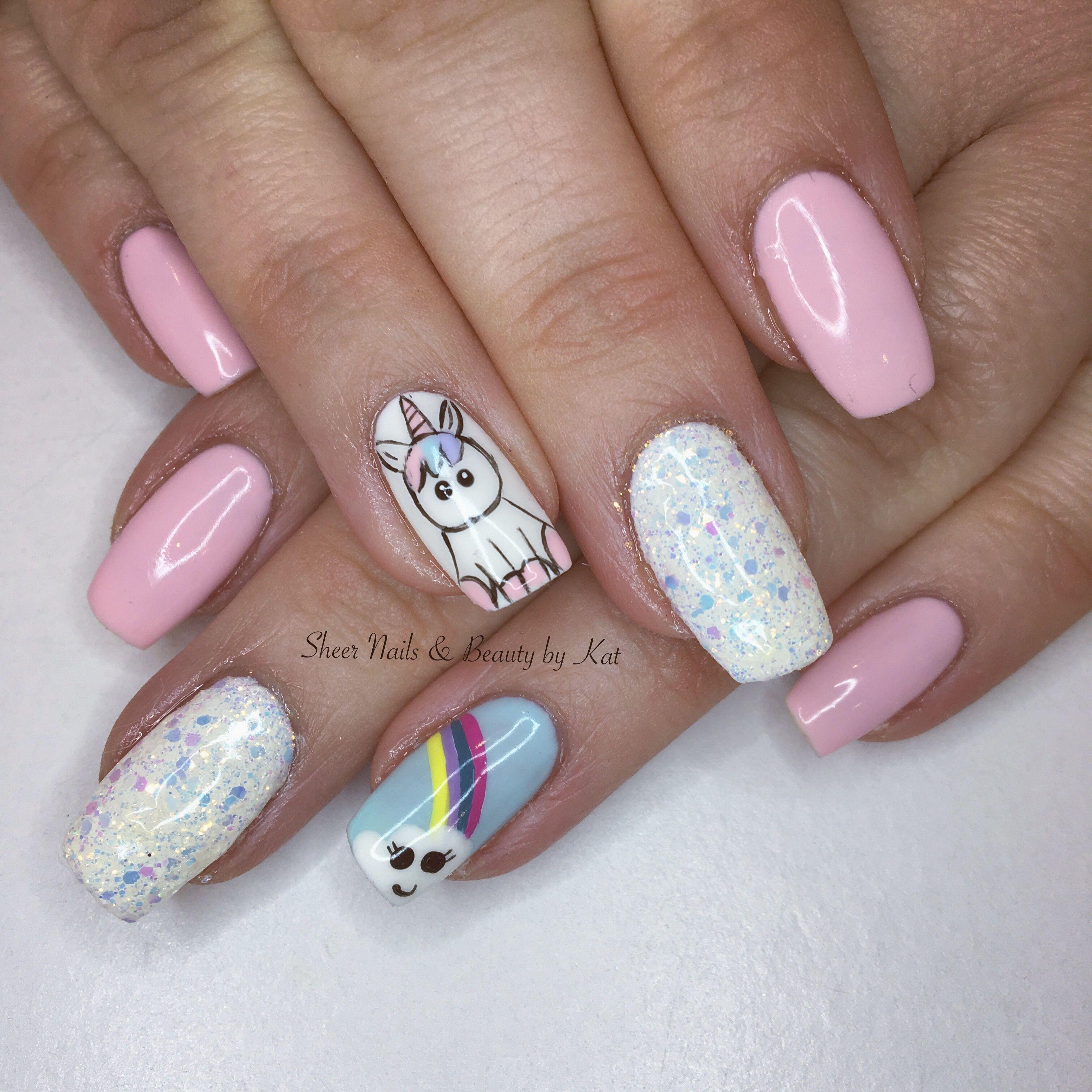 Cute unicorn nails! Hand painted nail art using gelish ...