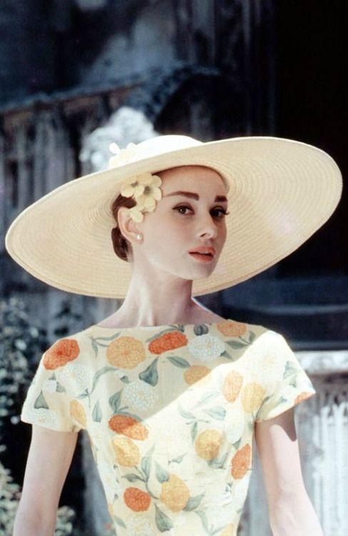 Audrey Hepburn Floral Dress Wide Brimmed Hat Audrey Hepburn Pinterest Audrey Hepburn