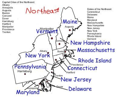 north east region states and capitals  Northeast Region States