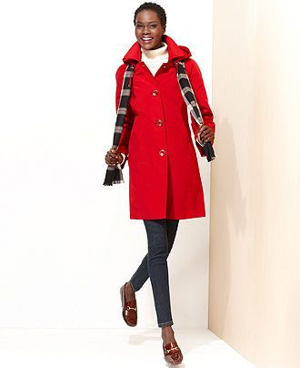 London Fog Petite Coat, Hooded Raincoat & Plaid Scarf - Womens ...