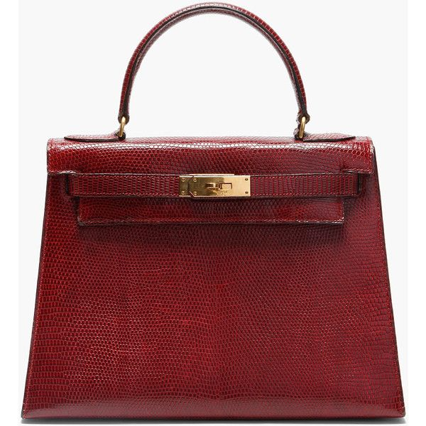 8f1a57938 HERMES VINTAGE Bordeaux Lizard Skin Kelly Tote ($28,500) ❤ liked on Polyvore