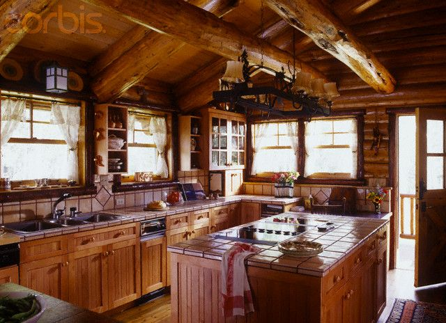 Log Home Kitchen Log Cabin Style Home 39 S Kitchen 42