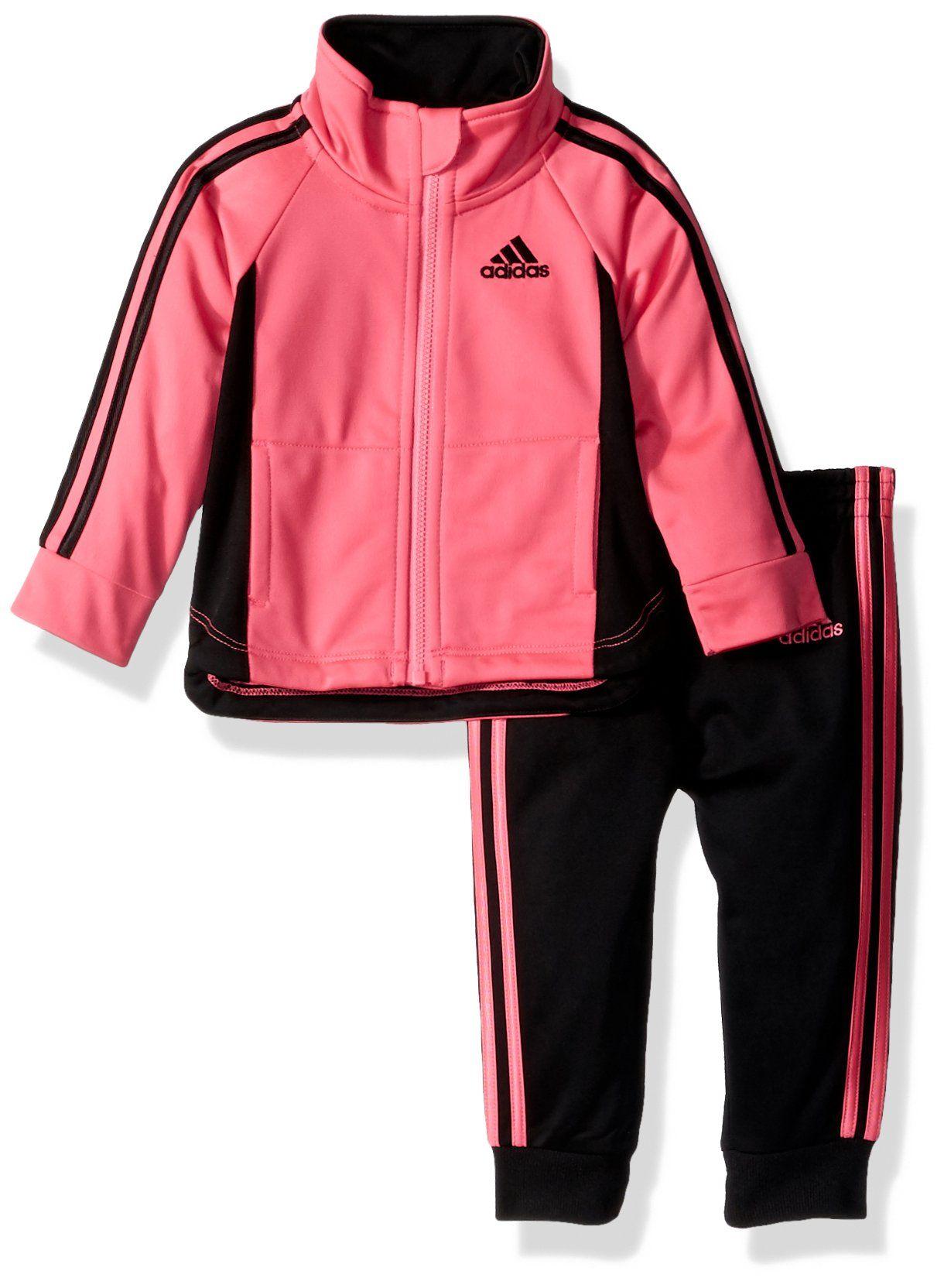 136316d36 Adidas Baby Girls' Zip Jacket and Pant Set, Solar Pink Jog, 18M ...