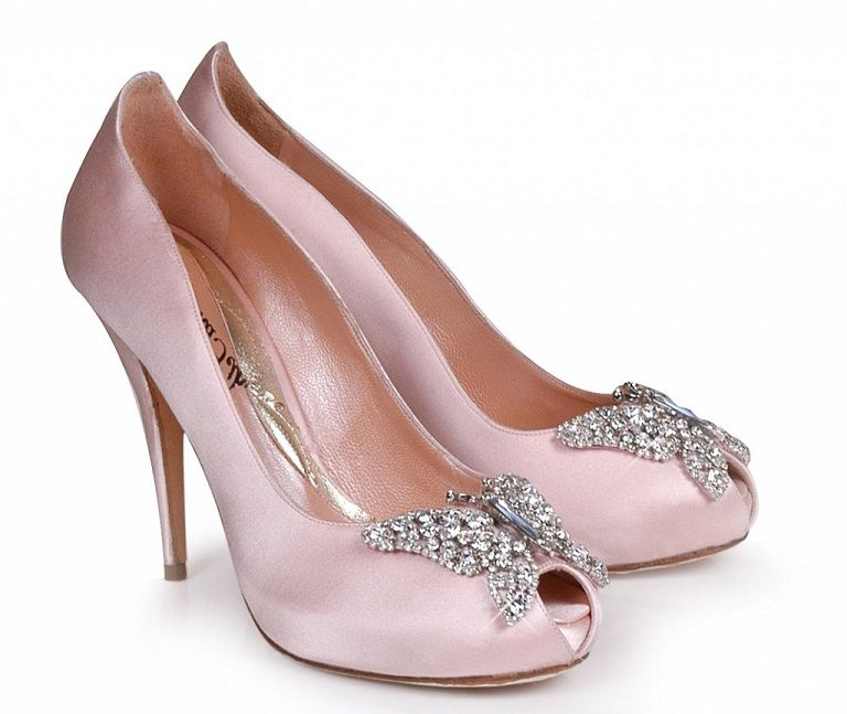 Farfella Erfly Shoes Bridal Pale Pink Wedding With Rhinestones