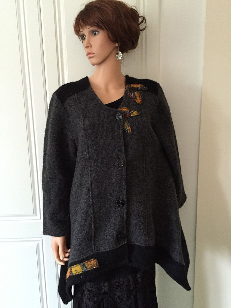 Sarah Santos Italian Boiled Wool Jacket with Applique on Shoulder and Hemline