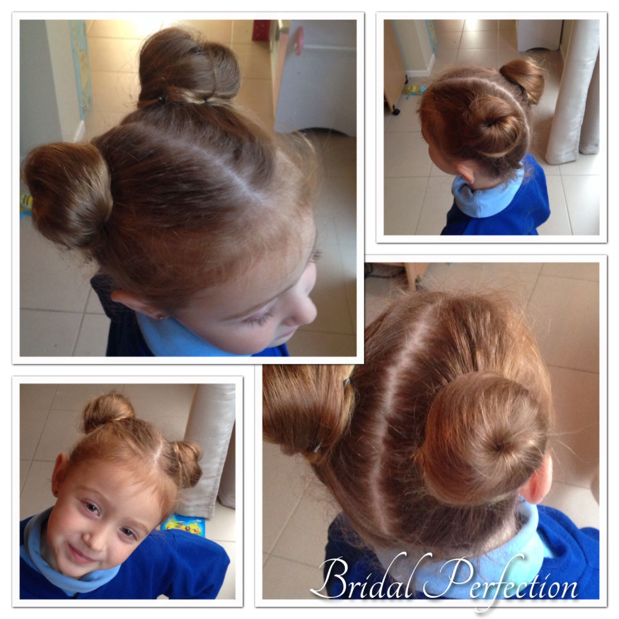 Gorgeous Double Bun For Miss Holly I Used Small Donut Rings As Holly Has Very Fine Hair And There Is Not A Lo Long Hair Girl Hairstyles For School Double Buns