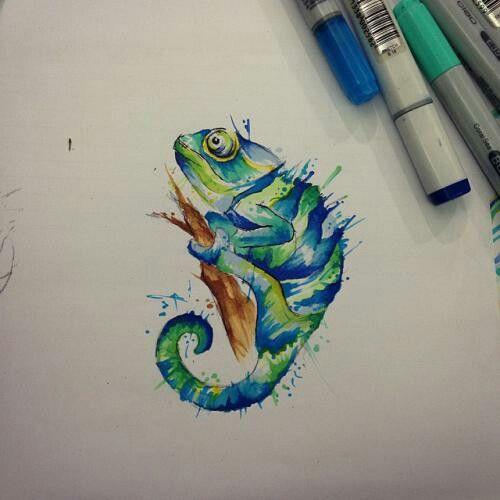 chameleon paint | Colors | Tatuaje de camaleón, Bocetos ...