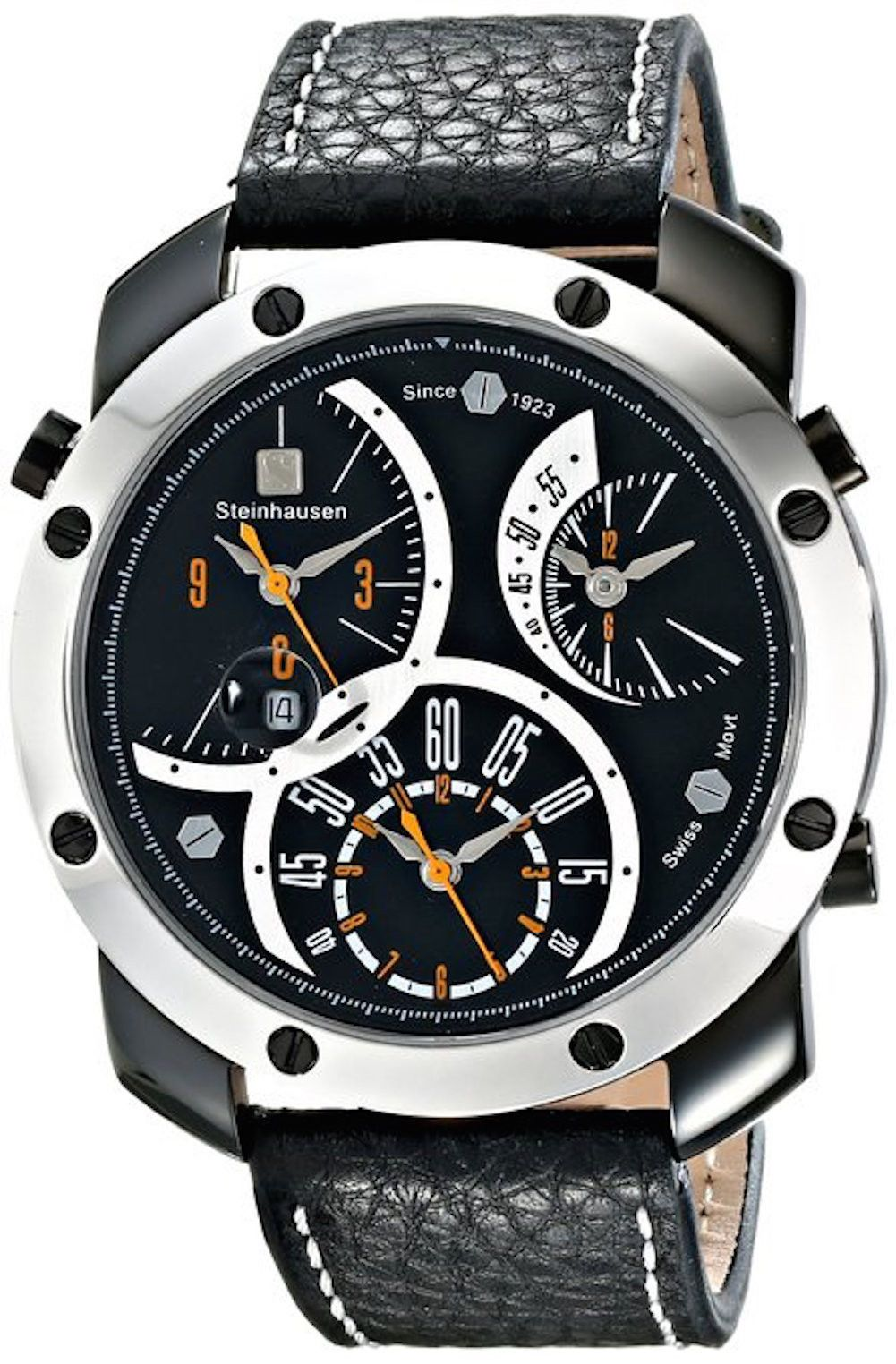 Steinhausen MW1306LSLSORL Men's Watch Triple Time Zone Black Dial