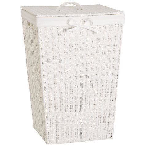 John Lewis White Rope Square Linen Bin Online At Johnlewis