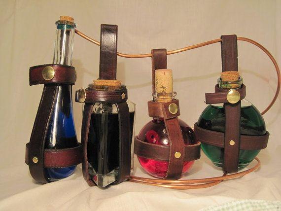 Leather potion bottle holder  Brown Teardrop by thebrasswardrobe, $18.00
