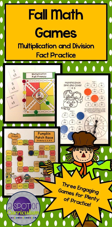 Fall Math Games: Multiplication and Division | Fun math games, Fun ...