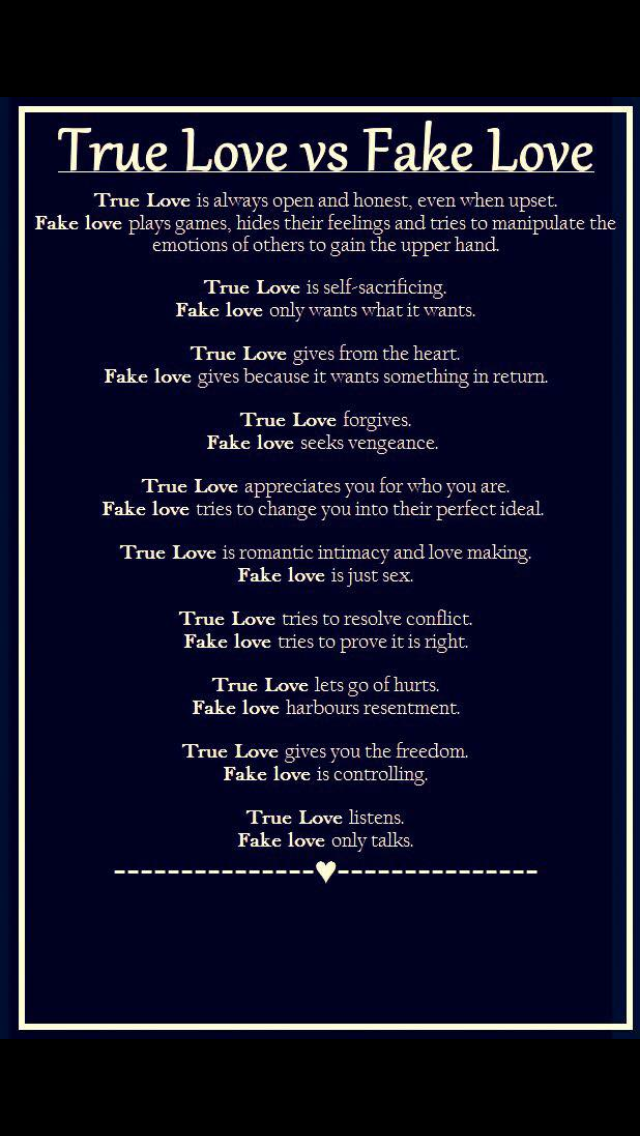 Fake Love Quotes Interesting True Love Vs Fake Love LOVE In 48 Pinterest