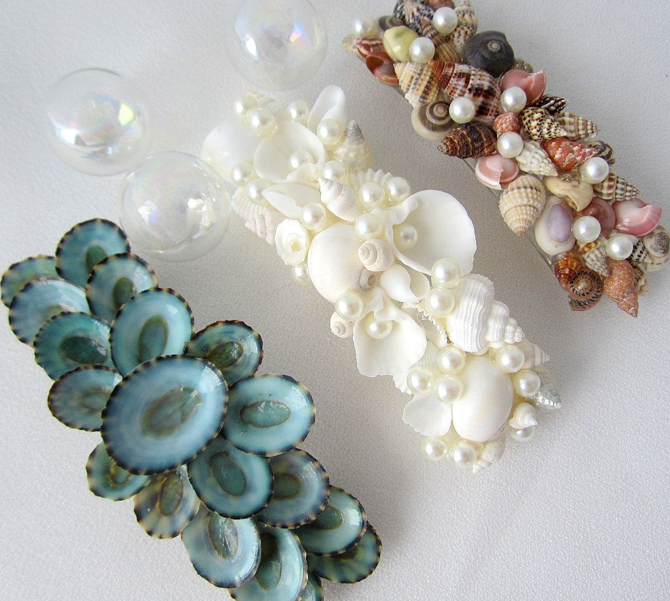 Beach wedding seashell barrette, nautical wedding shell barette ...