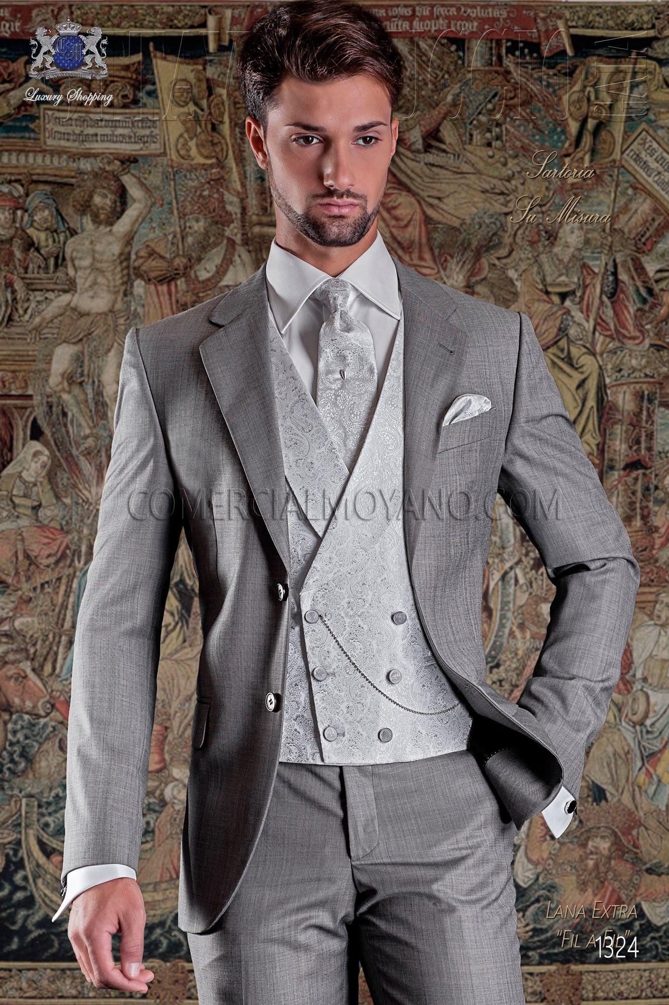 Italien costume classique de laine mélangée gris perlé  98a3f52d76f