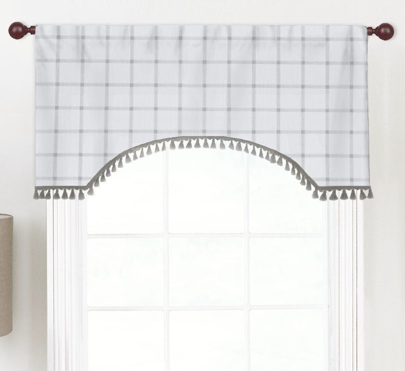 Arched Rod Pocket Custom Flat Valance Curtain Fits Single Window
