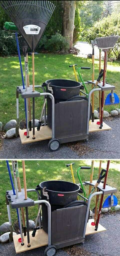 Pretty clever... garden trolley made from an old barbecue frame ...
